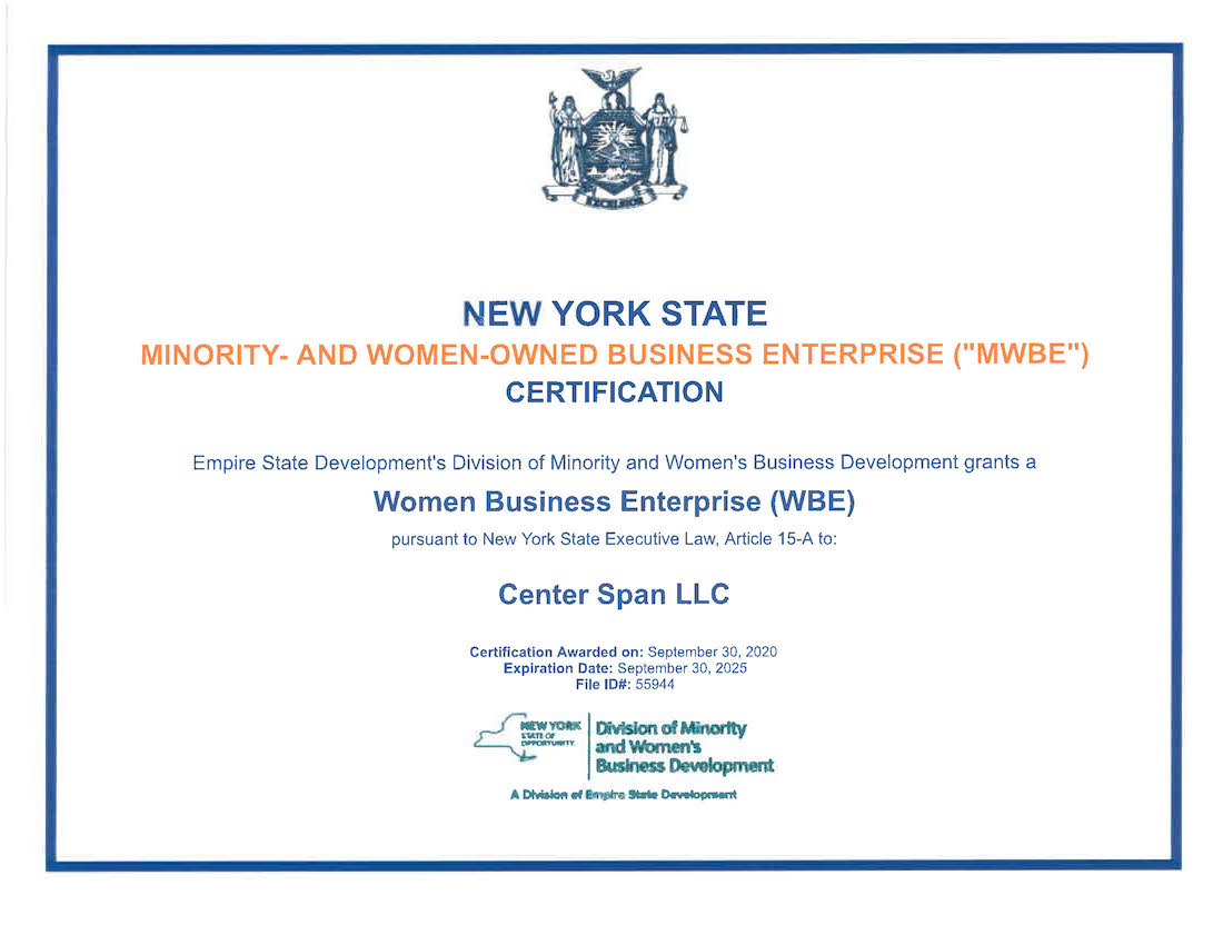 New York State Minority and Women OwnedBusiness Enterprise (MWBE) Certification